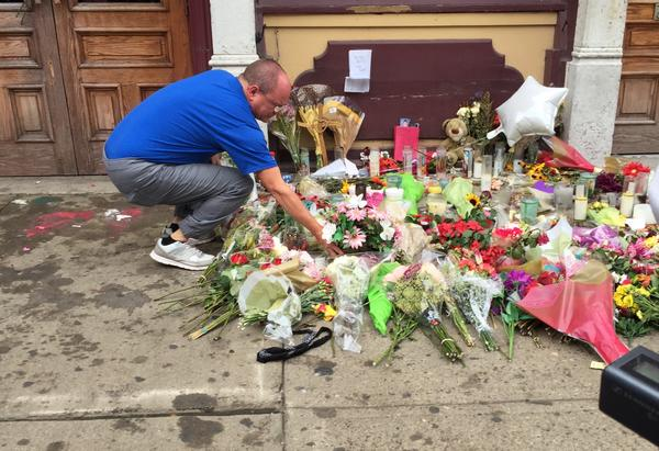 A memorial in the Oregon District honored the Aug. 4 mass shooting victims.