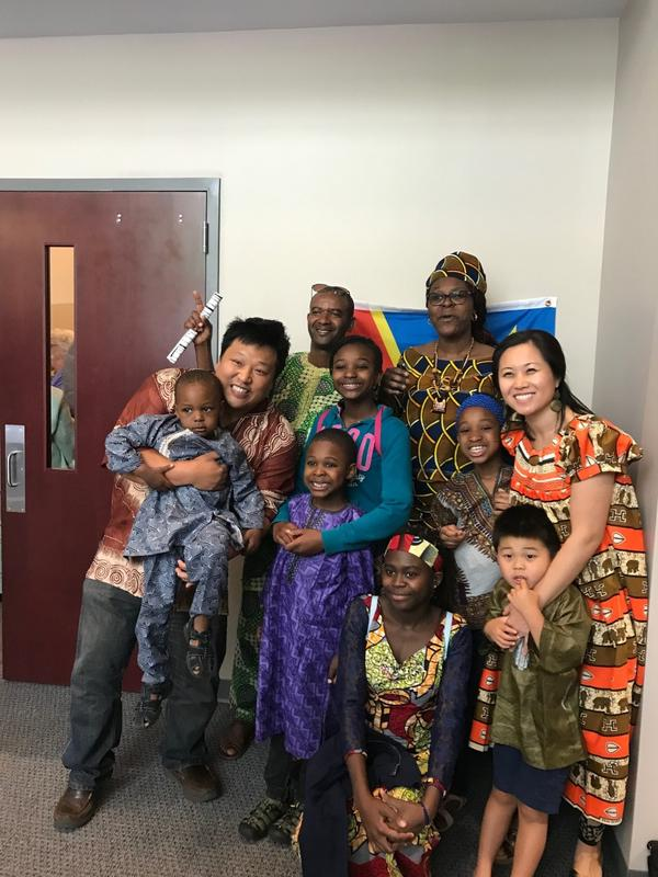 Yoo, his wife Jina and their son with some members of his congregation at Waypoint Church.