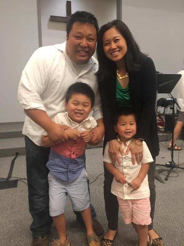 Yoo, his wife Jina, and their two sons Josiah and Hudson.