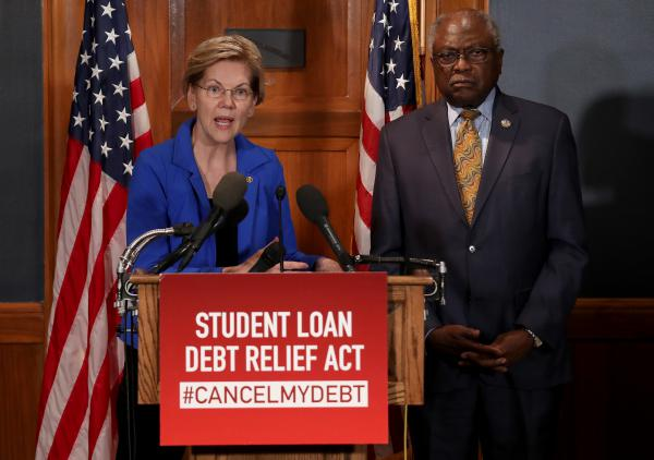 Sen. Elizabeth Warren (D-MA) and Rep. Jim Clyburn  (D-SC) have introduced legislation to cancel student loan debt for millions of Americans.