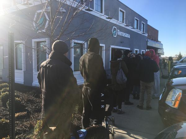Patients line up at Columbus area dispensary