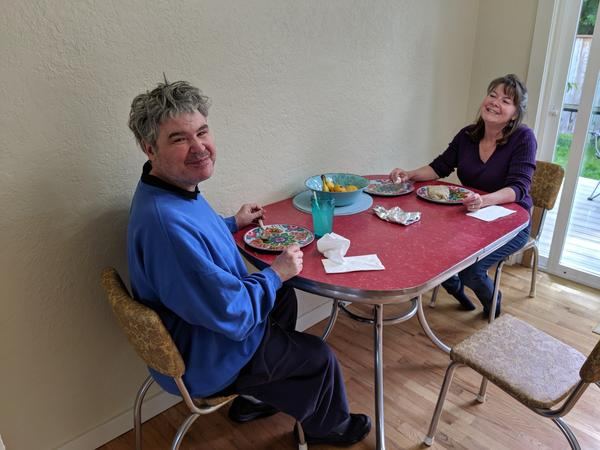 Dawn Akerman and her brother Fred pose while having lunch together before he returned to the hospital in June.