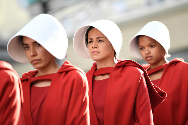 "Handmaids attend the premiere of Hulu's ""The Handmaid's Tale"" in Hollywood."