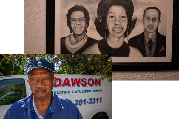 Thaddaus Dawson owned a dry cleaning business before finding his passion in the air and heating business. A drawing hangs in his office showing his family members.