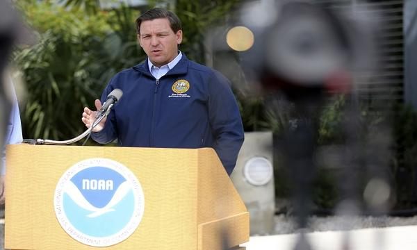 Florida Governor Ron DeSantis outside the National Hurricane Center in Miami Thursday morning.
