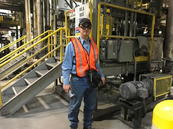 William Jones is a PdM lubrication technician and second class mechanic at the Owens Corning roofing plant in Denver. He's part of the company's apprenticeship program.