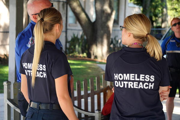 Members of Sarasota's Homeless Outreach team help court participants find appropriate social services.