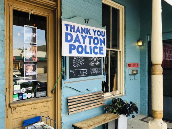 Over a month after the August 4 mass shooting, many Dayton businesses are still displaying signs of appreciation for the Dayton Police Department.