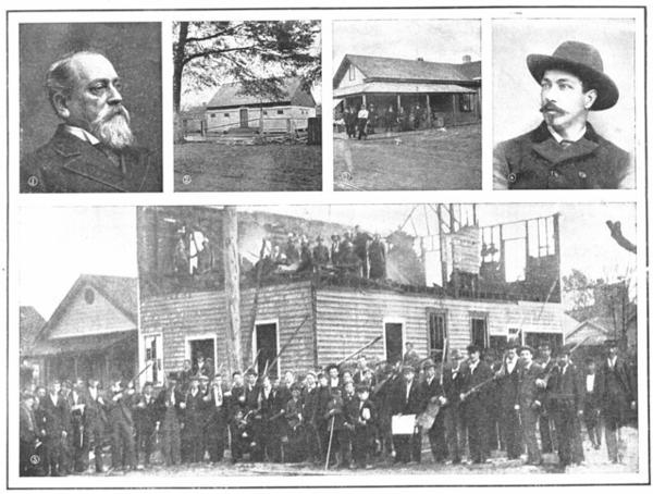 The Revolution at Wilmington NC (Collier's Weekly 26 Nov 1898). The man on the left is former congressman Alfred Waddell and on the right is Wilmington Chief of Police E. G. Parmele. The bottom photo shows the charred remains of the Daily Record after the