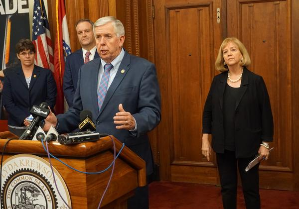 Gov. Mike Parson met with St. Louis Mayor Lyda Krewson (right), law enforcement agencies and officials on Tuesday, Sept. 10 to address the recent spike in gun violence.