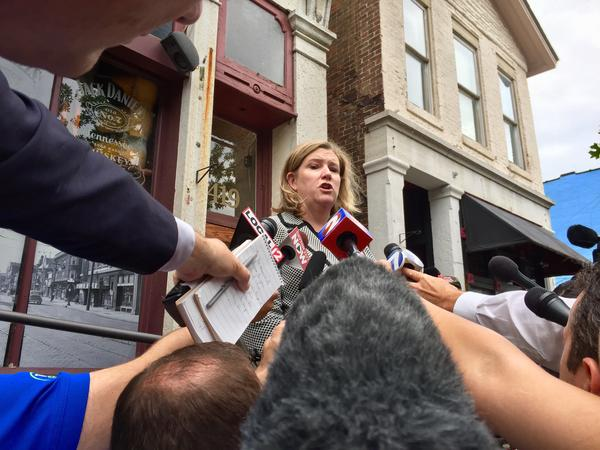 Dayton Mayor Nan Whaley speaking to reporters near the site of the Oregon District shooting rampage.