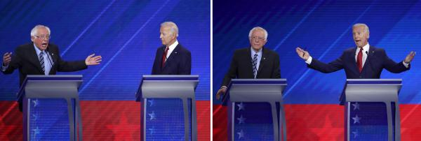 Democratic presidential candidates Sen. Bernie Sanders and former Vice President Joe Biden debate onstage during the Democratic presidential debate at Texas Southern University on Thursday in Houston.