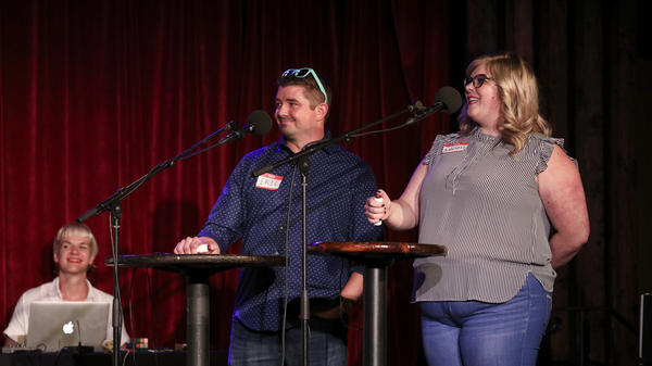 Contestants Eric Bosworth and Annabel Jones appear on <em>Ask Me Another</em> at the Bell House in Brooklyn, New York.