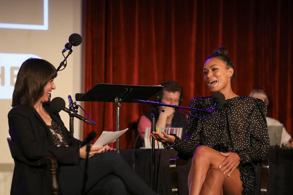 Ophira Eisenberg interviews Ilfenesh Hadera on <em>Ask Me Another</em> at the Bell House in Brooklyn, New York.