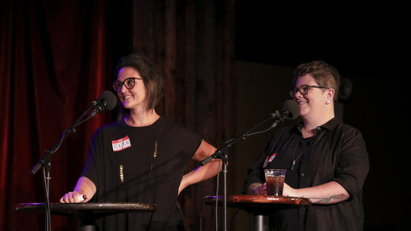 Contestants Rita Mikita and Dese'Rae Stage appear on <em>Ask Me Another</em> at the Bell House in Brooklyn, New York.