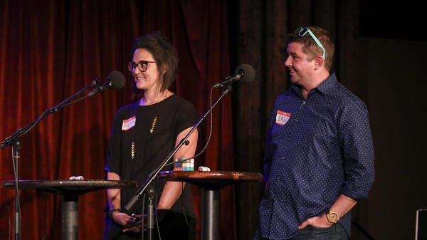 Contestants compete in <em>Ask Me Another</em>'s final round at the Bell House in Brooklyn, New York.