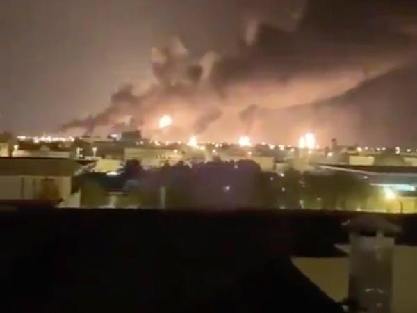 Smoke fills the sky at the Abqaiq oil processing facility on Saturday in Saudi Arabia.