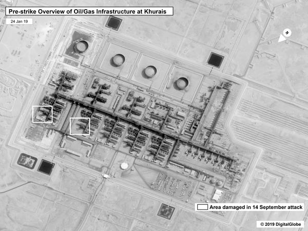 This image provided on Sunday by the U.S. government and DigitalGlobe and annotated by the source, shows a prestrike overview at Saudi Aramco's Khurais oil field in Buqayq, Saudi Arabia.