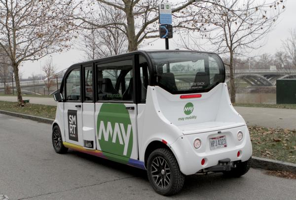 Columbus debuted driverless shuttles in a loop around the Scioto Mile in December 2018.