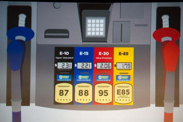 A slide at the 2019 Iowa Renewable Fuels Summit in January features a gas pump with four different blends of ethanol.