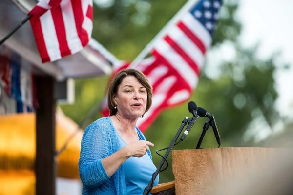 Democratic presidential candidate, Sen. Amy Klobuchar (D-MN) addresses a crowd at The Galivants Ferry Stump on in Galivants Ferry, South Carolina. It's the first time the 143 year old event was held in the fall featuring Democratic presidential candidates. (Photo by Sean Rayford/Getty Images)