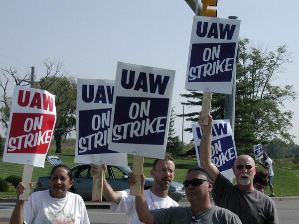 Striking UAW GM workers in Flint.
