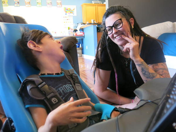 Ashley Markum of Rogersville, Missouri, and her son Ayden, who has cerebral palsy.