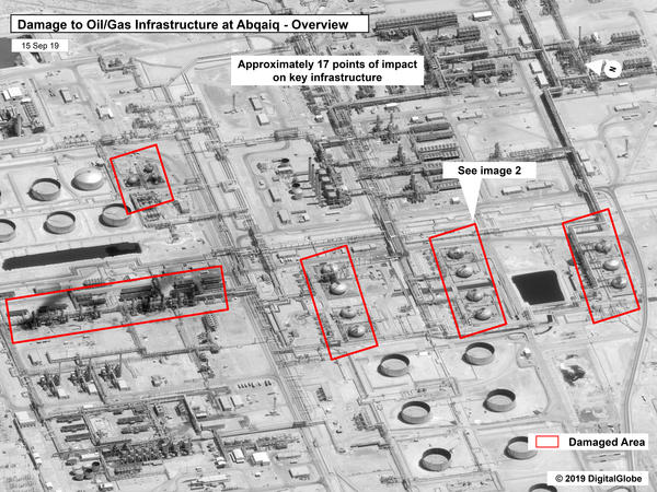 Defense Department officials say U.S. satellites detected Iran readying drones and missiles at launch sites prior to the attack on a Saudi oil facility on Saturday. Here, an image provided by the U.S. government and DigitalGlobe (and annotated by the source) shows damage to the infrastructure at Saudi Aramco's Abqaiq oil-processing facility.