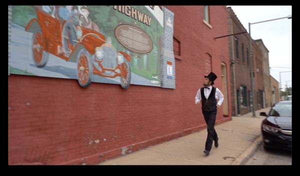 Abraham Lincoln running in DeKalb, Illinois