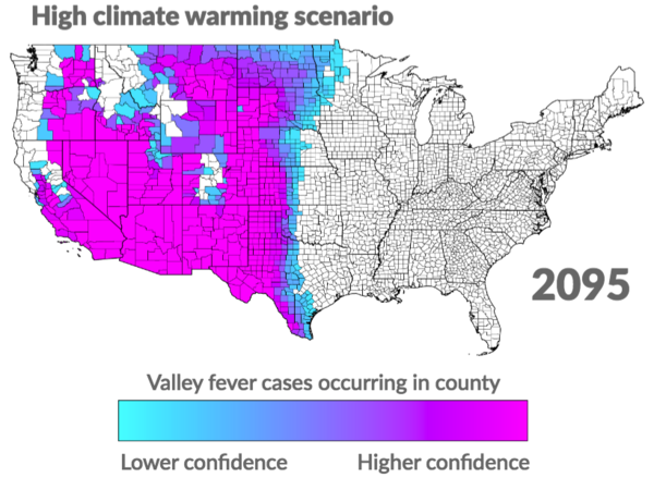 Figure shows researchers' current estimate of where Valley fever may be endemic by the end of the century in a high climate-warming scenario.