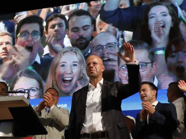 Andreas Kalbitz, an AfD leader in Brandenburg, speaks to supporters after exit poll results in state elections on Sept. 1 in Werder, Germany.