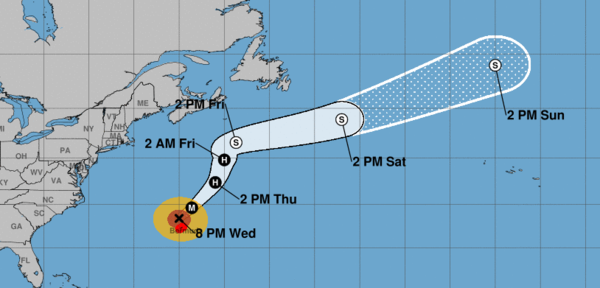 Hurricane Humberto passing Bermuda Wednesay and heading away from the U.S.