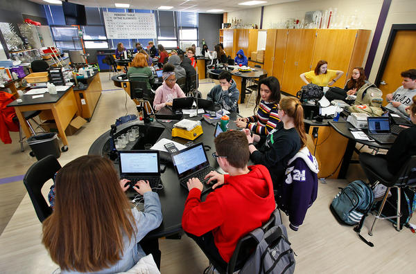 In-state college admissions will change for Kansas high school students like this chemistry class at Topeka West High School.
