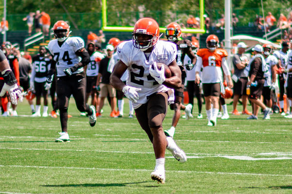 Browns running back Nick Chubb during training camp. Pluto says he'd like the Browns to use him more.