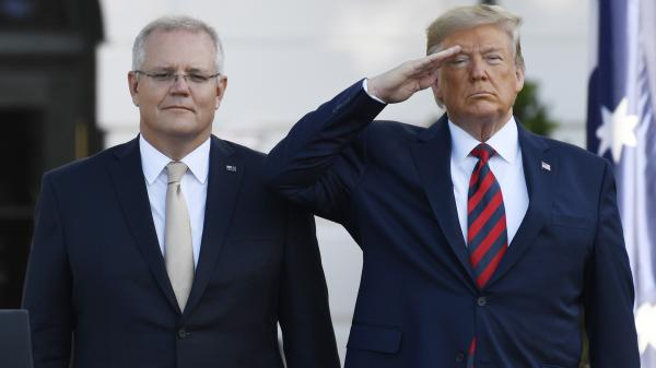"President Trump and Australian Prime Minister Scott Morrison. Trump says reports of an improper conversation with a foreign leader are ""ridiculous."""