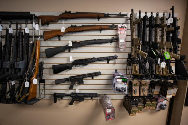 Rifles, including AR-15-style rifles, are displayed at Central Connecticut Arms in Portland, Connecticut.