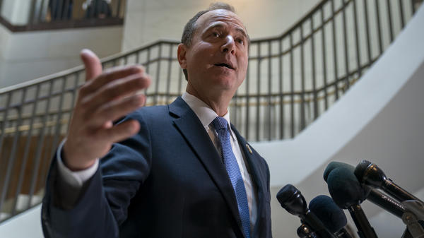 Rep. Adam Schiff (D-Calif.) chairman of the House Intelligence Committee, speaks with reporters about a whistleblower complaint on Thursday.