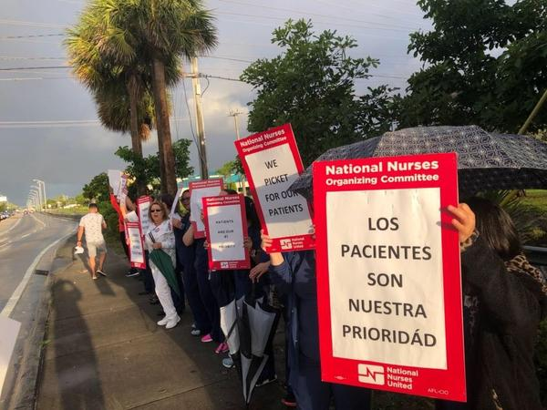 Registered nurses went on strike at Palmetto General Hospital in Hialeah at 7 a.m. Friday. They want the company that runs the hospital to invest in recruiting and retaining more nurses.