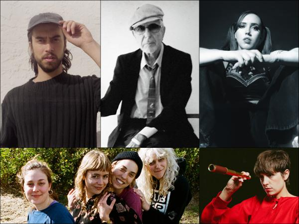 Clockwise from upper left: (Sandy) Alex G, Leonard Cohen, Soccer Mommy, Fran, Chastity Belt