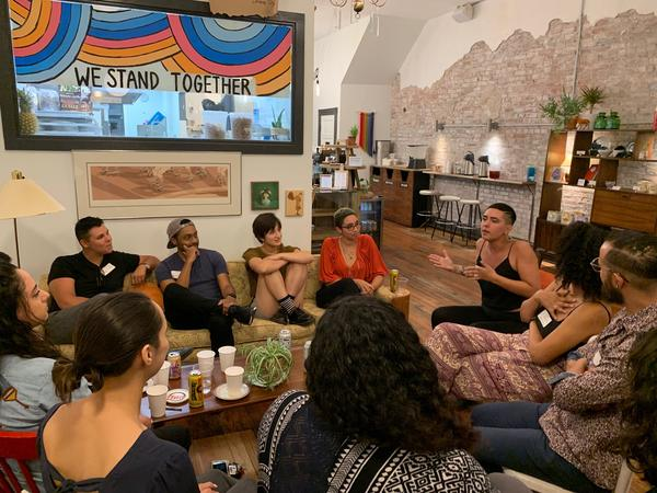 Mixed Feelings meets monthly. The group founded by Alyson Thompson met at Rise Coffee House in September for its launch party.
