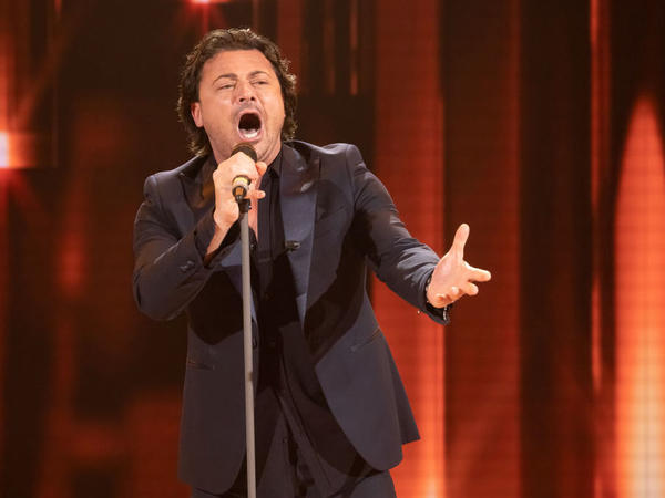 "Italian tenor Vittorio Grigolo, performing on the Italian TV show ""Domenica In"" in May 2019."