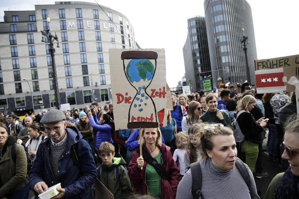 Participants in the Fridays For Future movement protest during a nationwide climate change action day in Berlin, Germany. Fridays for Future protests and strikes are registered today in over 400 cities across Germany. The activists are demanding that the German government and corporations take a fast-track policy route towards lowering CO2 emissions and combating the warming of the Earth's temperatures. (Photo by Carsten Koall/Getty Images)