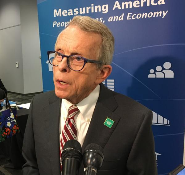 Gov. Mike DeWine talked to reporters after speaking to the Census 2020 Complete Count Commission meeting at the State Library of Ohio.