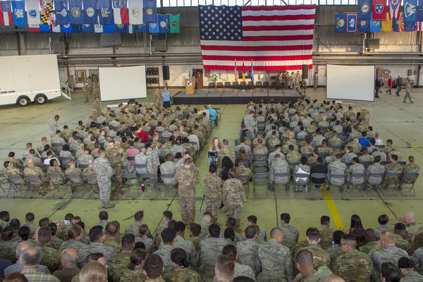 Members of the 52nd Fighter Wing gather at Spangdahlem Air Base, Germany for a one day stand down to discuss mental health issues.