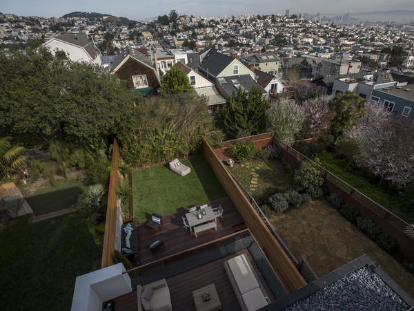 The view from the balcony of a house listed at $5.5 million in San Francisco. Income inequality in the U.S. grew worse in California and eight other states in 2018, the U.S. Census Bureau says.