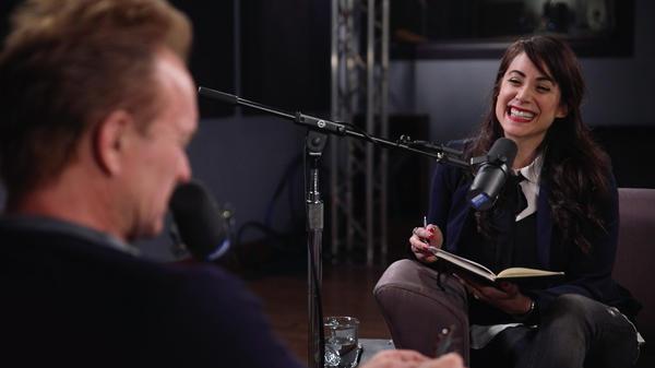 Talia Schlanger interviewing Sting inside the <em>World Cafe</em> Performance Studio.