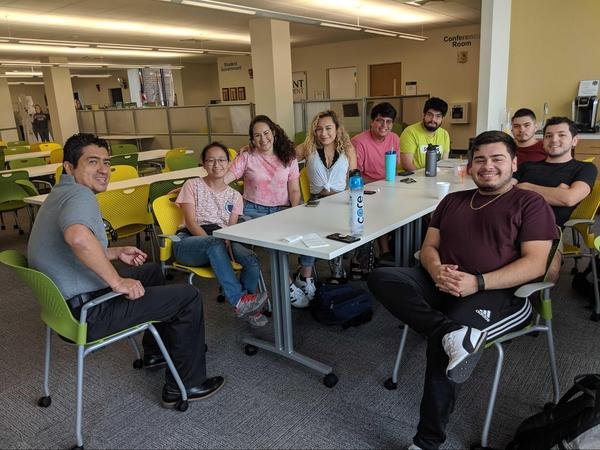 Members of Parkland College's Club Latino meet during an afternoon early in the 2019 fall semester. Students involved in the club say the support they receive from their peers and supervisor helps them stay motivated in school.