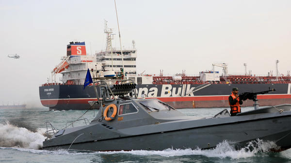 A photograph from the semiofficial Tasnim news agency shows the Stena Impero being seized in July near Bandar Abbas, Iran.