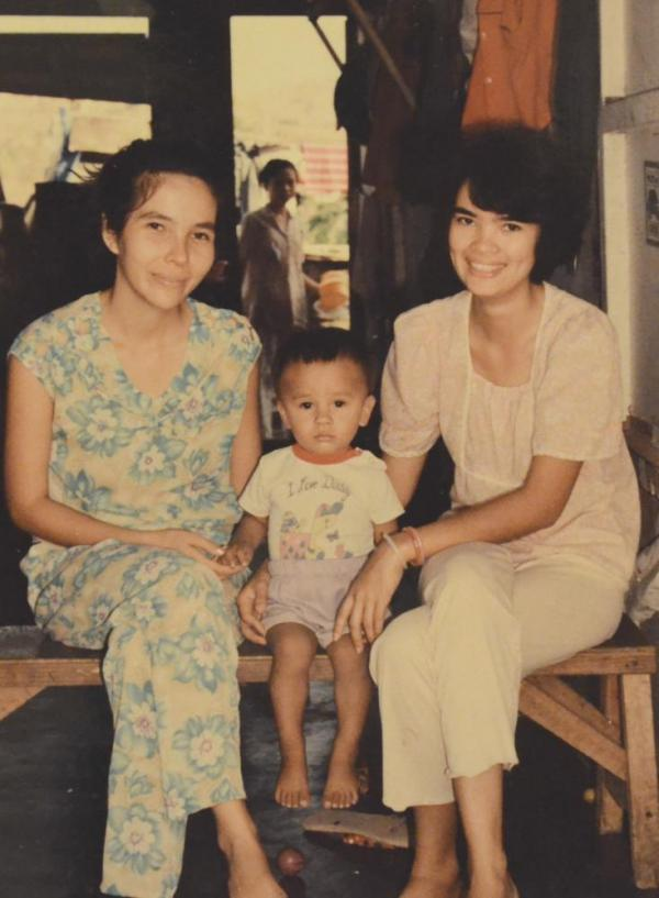 Ocean Vuong, center, with his mother and aunt, taken at a refugee camp Philippines circa 1989.
