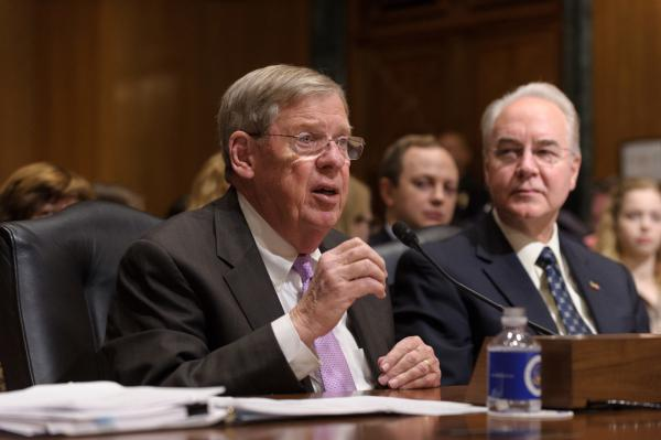 "U.S. Sen. Johnny Isakson at a Senate hearing. The Republican senator from Georgia introduced a bill to fund ""mass violence"" research."